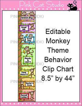 Monkey Theme Behavior Clip Chart - Editable - Back to Scho