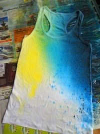 Spray dye t-shirt! @Ashley Walters Walters Walters Walters Hunter this is a cute spin on tye dye or a good start for a galaxy shirt!