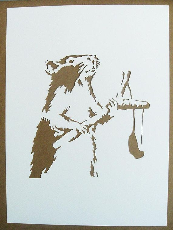 BANKSY Rats Stencils Set Of Five Catapult Drilling by existencil, $25.00