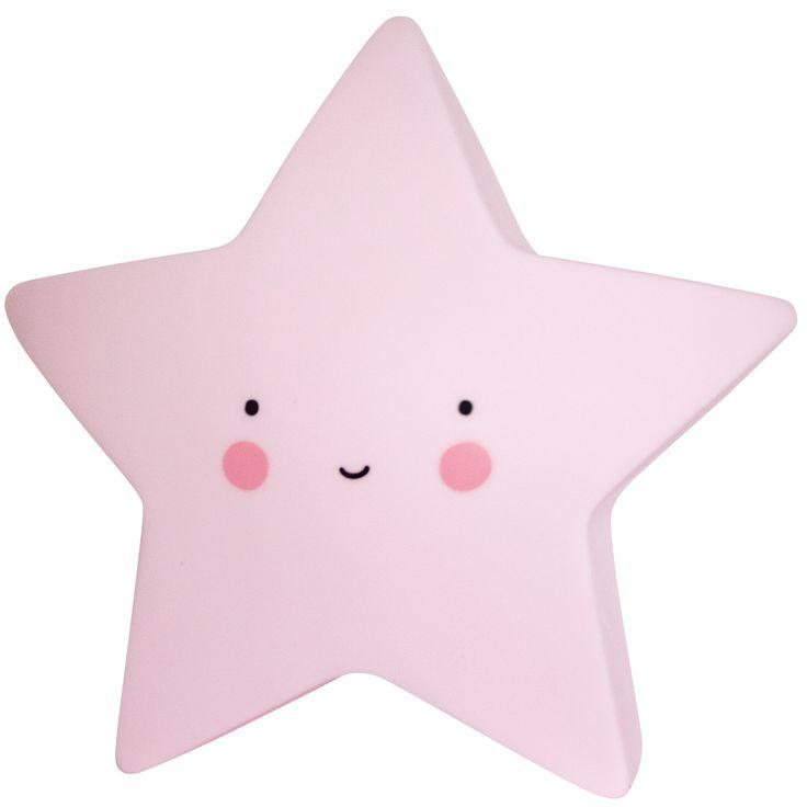 La petite veilleuse étoile rose de la marque A Little Lovely Company apporte une touche chaleureuse à la décoration d'une chambre d'enfant. Une lampe très déco de jour qui devient une veilleuse la nuit.