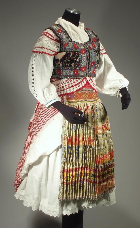 Complete Woman's Slovak Folk Costume from Tisovnik, Slovakia - rare skirt | decorated vest | brocade apron | blouse | crochet lace shawl