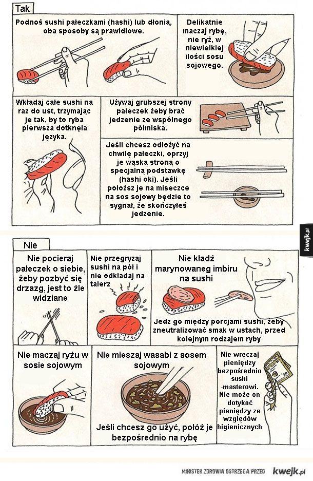 Etykieta jedzenia sushi