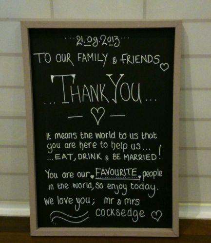 Wedding Thank You - Personalised chalkboard sign shabby chic gift decoration