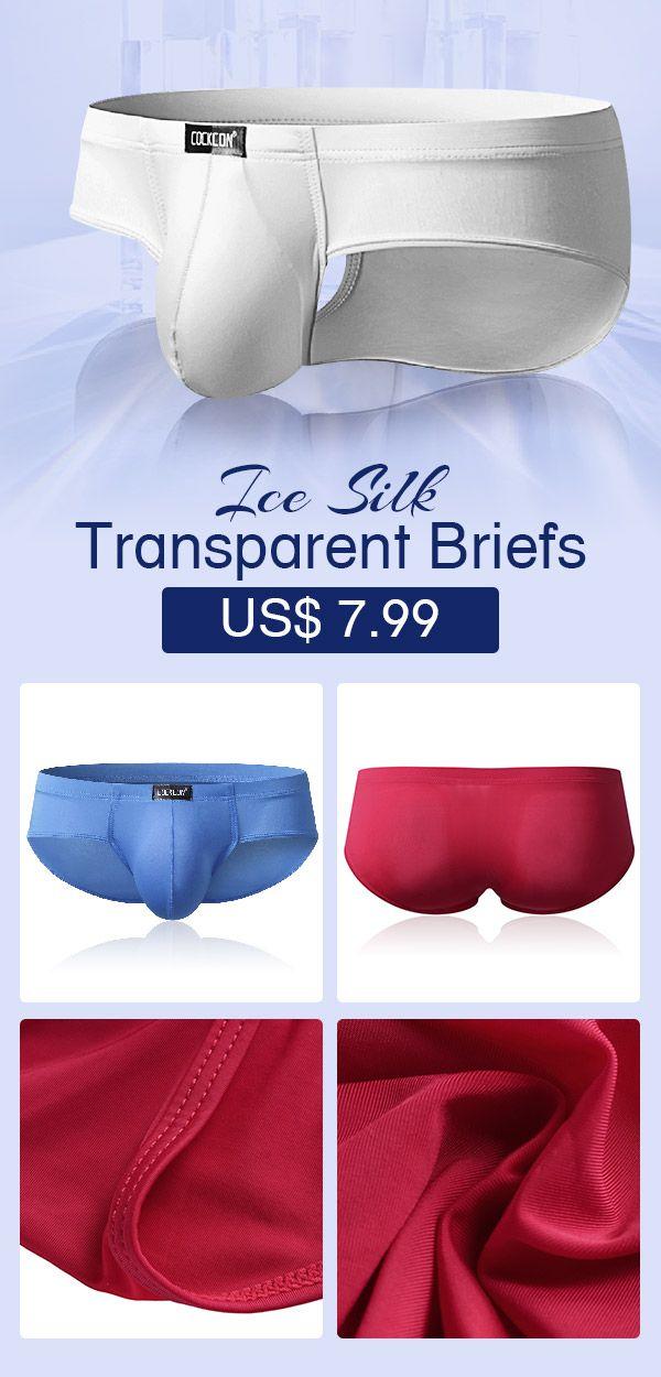 3969ad7f0a8 Sexy Super Thin Ice Silk Underwear Pure Color Transparent Breathable  Elastic Pouch Brief  mens