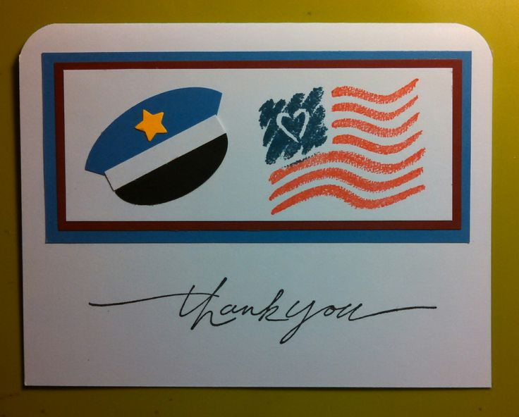Police Thank You Card 2016--Sent to all local Police, Sheriff, and State Police stations with a handwritten, heartfelt thank you. Used oval punches and very small star punches. The stamp was Stampin Up God Bless America.