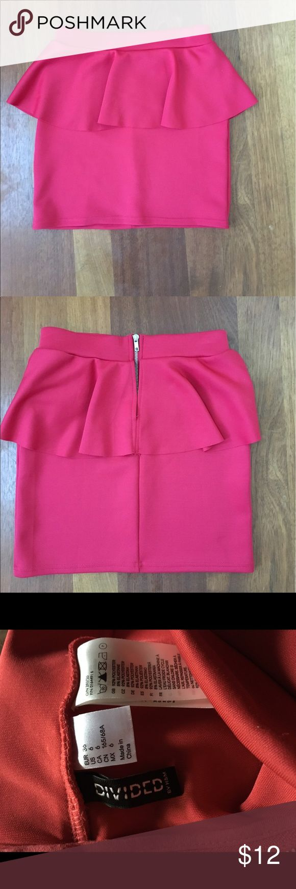 H &M Divided skirt. Size 6. Excellent condition! Gorgeous skirt. Bright pink/rose colored. 30% off bundles of 2 or more items from my closet. Divided Skirts Mini