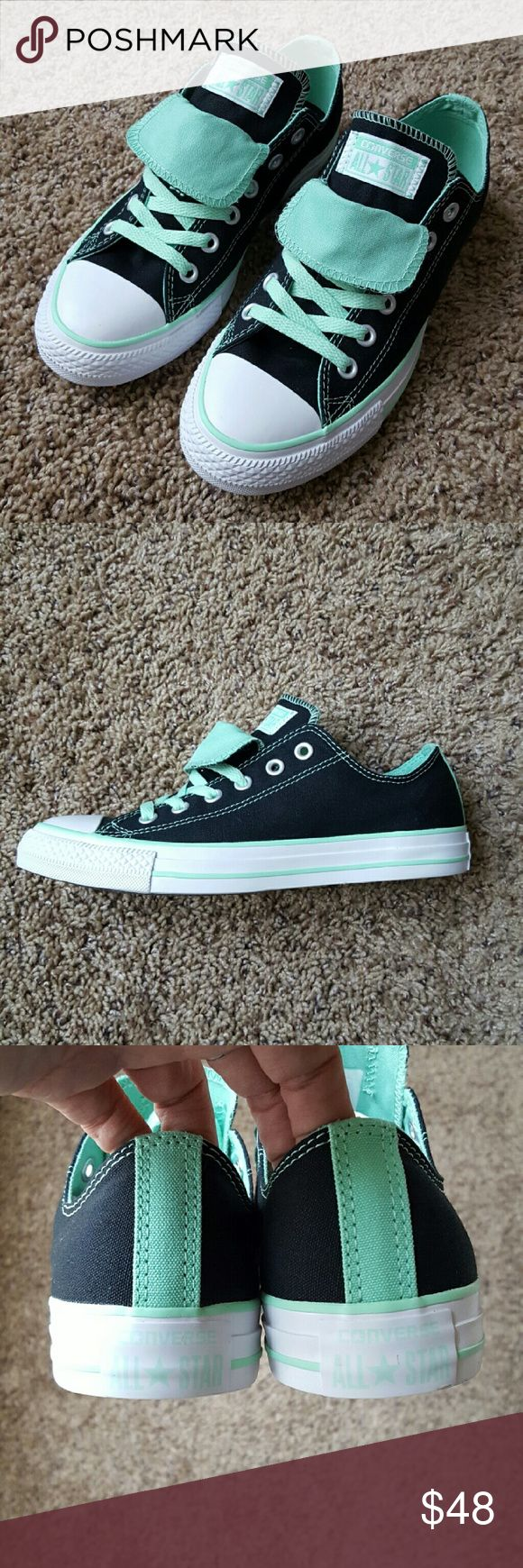 Converse All Star Sneakers Beautiful Converse in black & seafoam green. Double lace flaps creating a super cool look . Size 9 Converse Shoes Sneakers