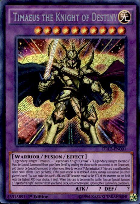 YuGiOh Dragons of Legend 2 Secret Rare Timaeus the Knight of Destiny DRL2-EN001