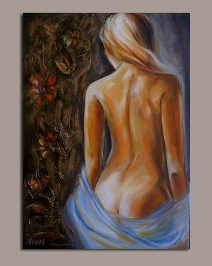 Original oil painting nude.Free shipping around by artstudioAreti, €196.42