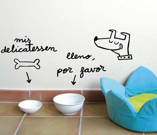 decorar paredes para perros yo gatos vinilo perruno u wall vinyl