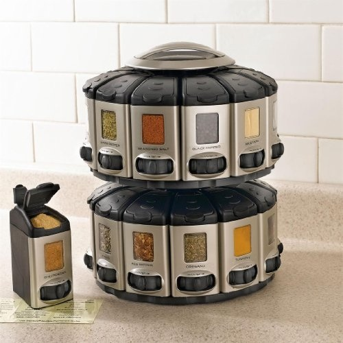 Brylanehome space saver spice carousel with built in for Carousel spice racks for kitchen cabinets