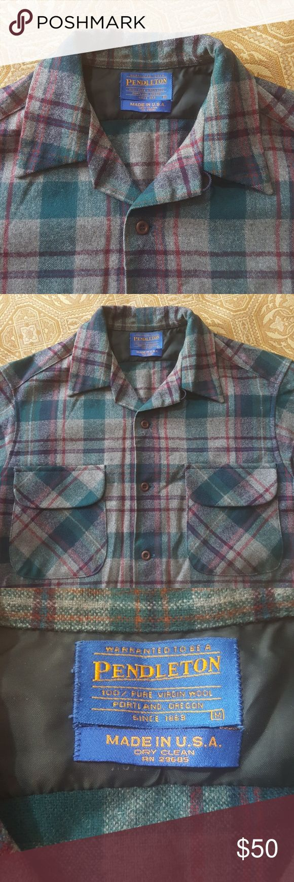 Pendleton wool button down shirt M Warranted to be a Pendleton wool button-down shirt. 100% virgin wool. Portland Oregon. Since 1863. Size medium. Made in the USA. Two pockets on the chest. Colors burgundy red grey green plaid. Pendleton Shirts Casual Button Down Shirts