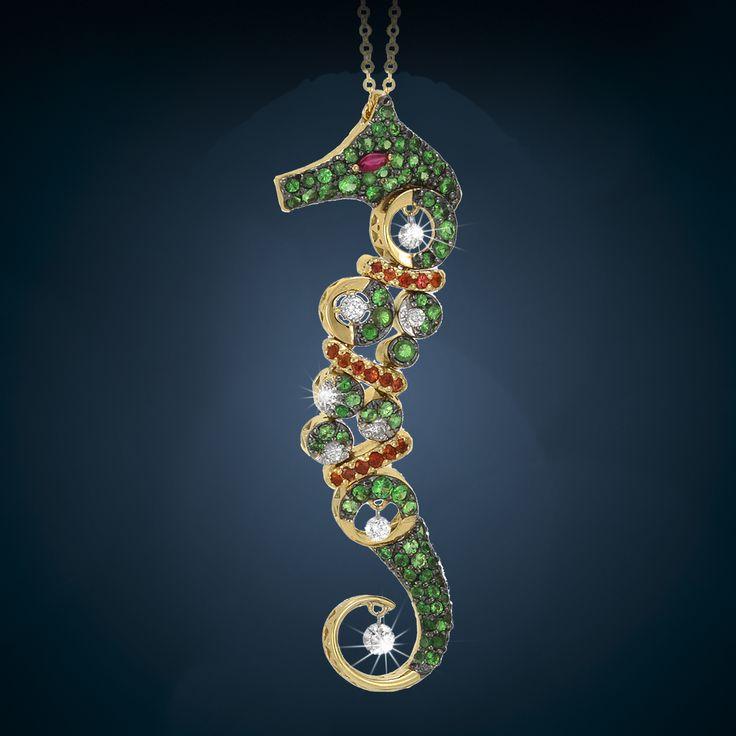 seahorse #pendant by ponte vecchio gioielli #animaljewelry #jewelry
