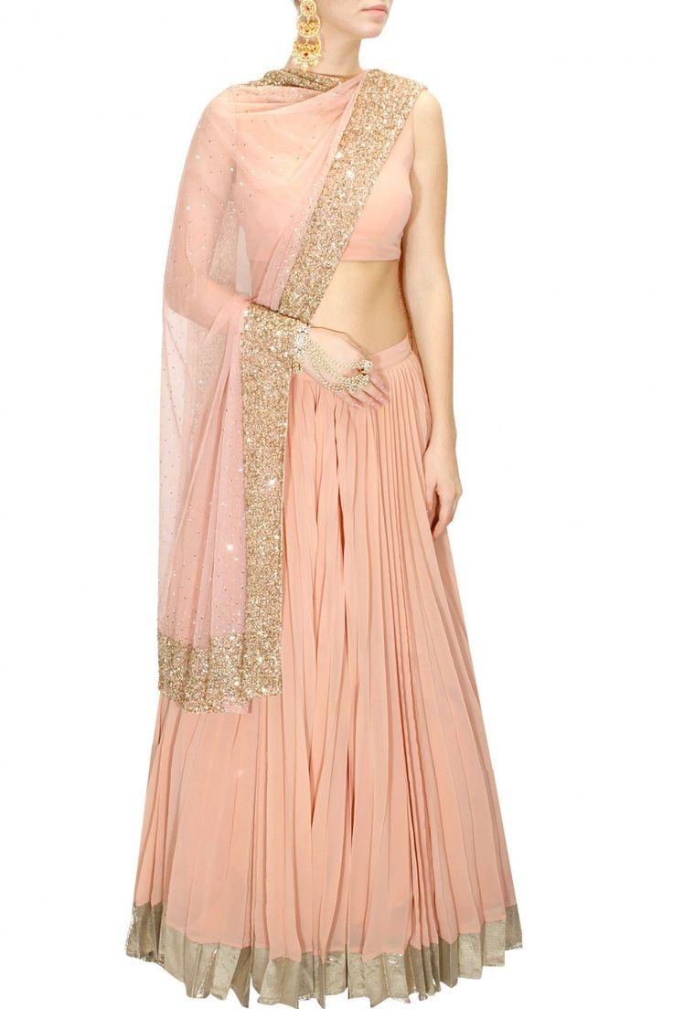 Astha Narang Peach & Gold Embellished #Lehenga Set. Available Only At Pernia's Pop-Up Shop.