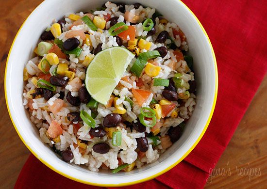 rice with black beans, tomatoes, scallions, cilantro, and lime juice