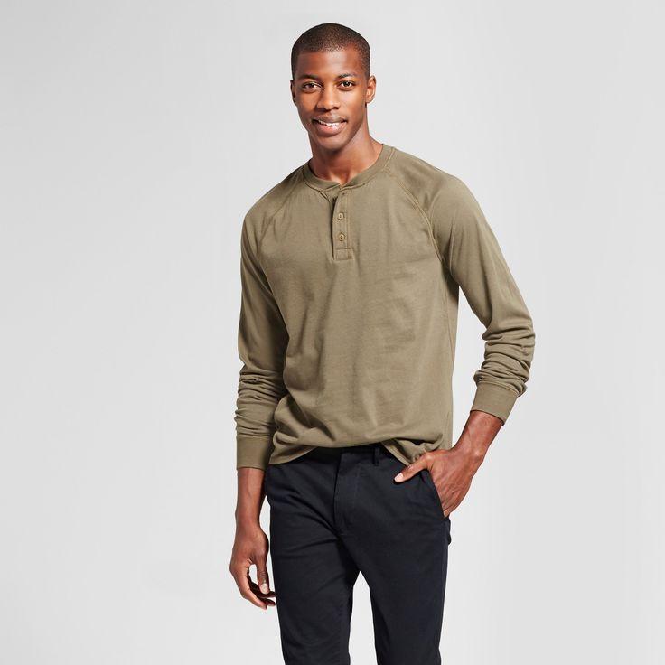 Men's Standard Fit Long Sleeve Henley T-Shirt - Goodfellow & Co Olive (Green) M
