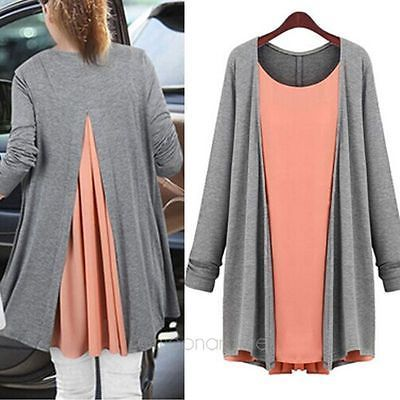 New-Womens-Knitted-False-Two-Piece-Chiffon-Cardigan-Long-Sleeve-Coat-Plus-Size
