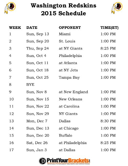 Printable Washington Redskins Schedule - 2015 Football Season