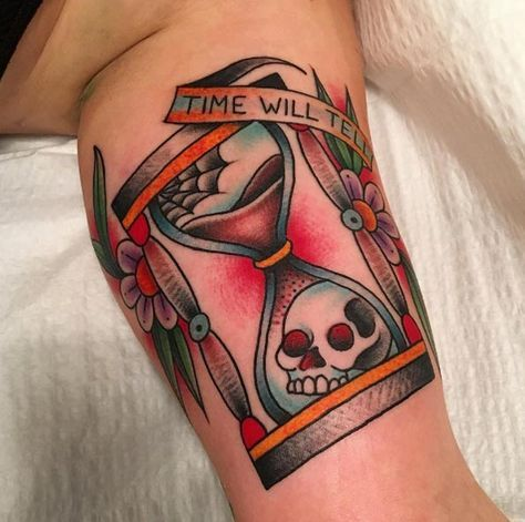 Traditional Hourglass Chest Tattoo