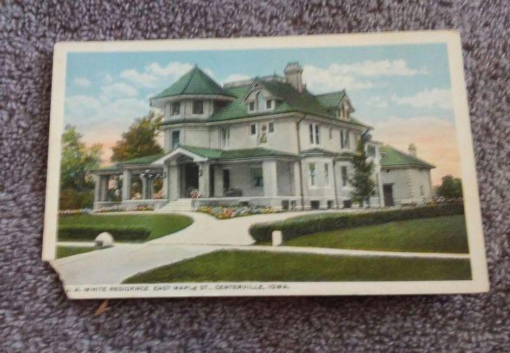 Postcard Ia J.A. White Residence East Maple Street Centerville Iowa