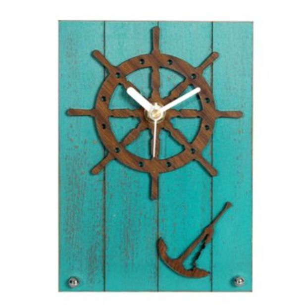 ZLYC Vintage Mediterranean Style Retro Helm Anchor Wood Grain Novelty Rectangle Alarm Clock Blue 2