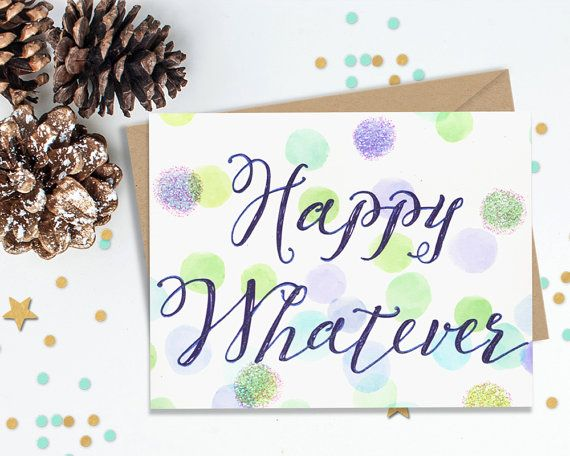 Happy Whatever Holiday Card, Funny Holiday Card, Hanukkah Card, Sassy Greeting Card, Fun Holiday Cards, Greeting Card, Shimmery holiday Card