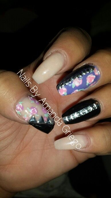 Nude, purple, and black acrylic nails with pink roses and metal studs - https://www.facebook.com/NailsbyAmandaG