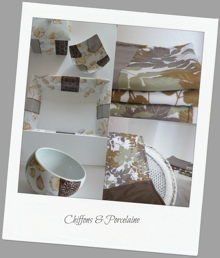 Ensemble salle de bain Chiffons et Porcelaine; du linge de bain et des éléments de porcelaine pour apporter de la chaleur et de l'élégance à vos salles de bain.