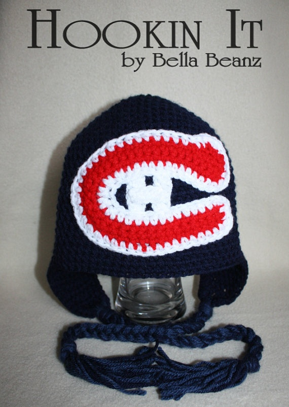 Go Habs Go Montreal Canadians hat with by HookinItbyBellaBeanz, $30.00