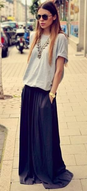 satin maxi skirt. tee. silver boho necklace.