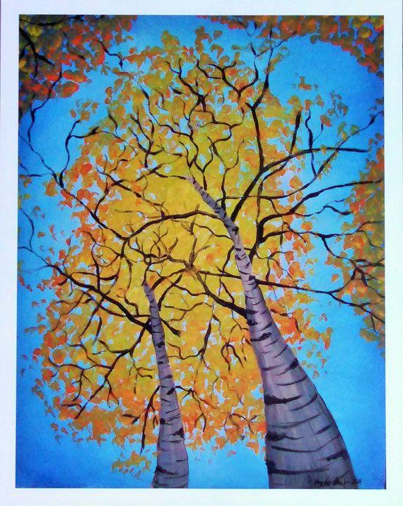 Autumn Birches Art Print 11x14 by NicoleInStitches on Etsy