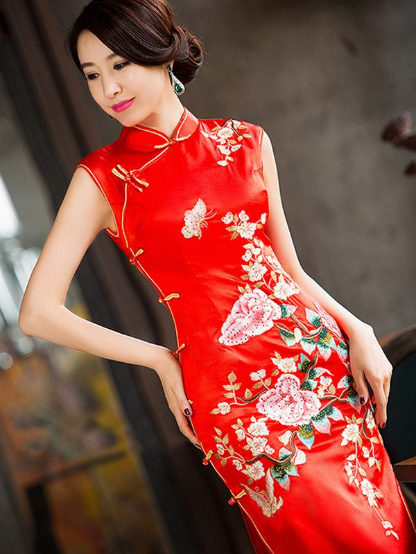 fe778823024 Sleeveless mandarin collar floral embroidered red Chinese wedding dress – Red  Chinese Dress