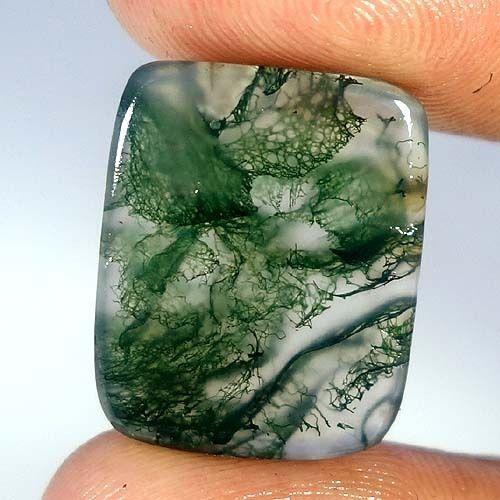 Moss Opal Agate Forest Green Gemstone Seaweed Designer Cushion Cabochon 13.80Cts #Qualitygems2014