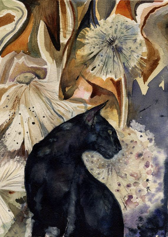 Black Cat painting  print from original by rachelstockham on Etsy