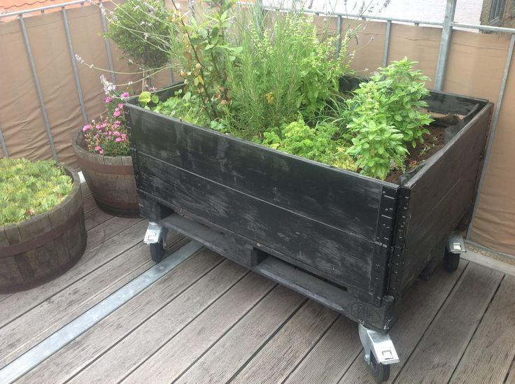 Apartment Patio Garden Box Mobile Planter Box On Outside Deck Of Apartment