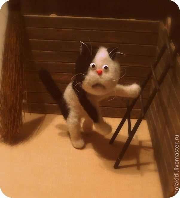 Ежкин кот - черно-белый,кот,котик,ежкин кот,кот игрушка,котенок,из шерсти
