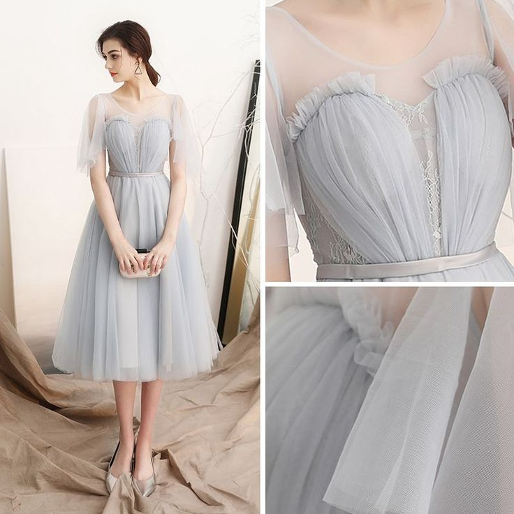 Modest / Simple Grey See-through Homecoming Graduation Dresses 2018 A-Line / Princess Scoop Neck Short Sleeve Sash Tea-length Ruffle Backless Formal Dresses