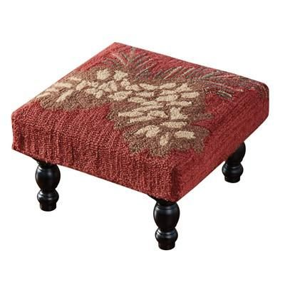 Red Fabric Foot Stool with Pine Cone Motif