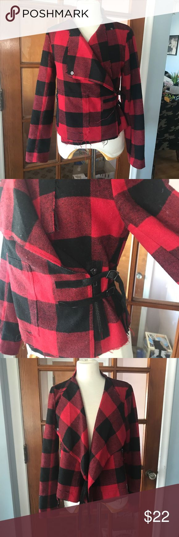 BB Dakota Jacket Buffalo plaid jacket. Can be worn closed with double strap closure or open. Interior liner was cut to make it more comfortable when wearing, it's not detectable when on. Back seams have been reinforced. (Both flaws are pictured). BB Dakota Jackets & Coats