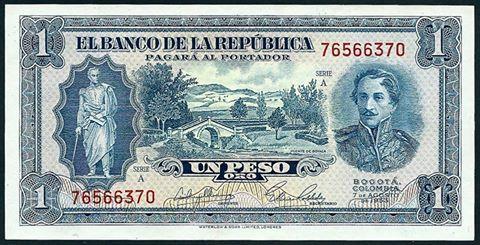 Este es un ejemplo ineludible, de cuando en el pasado se cuidaba de cada detalle en el papel moneda a ser emitido,era todo un arte en su diseño, fundamentado siempre en el rico valuarte de nuestra historia. Un Peso Oro del Banco de la Republica de Colombia de 1953