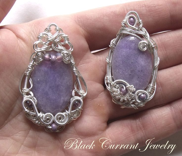 Couple of Purple Jade Pendants by blackcurrantjewelry.deviantart.com on @deviantART
