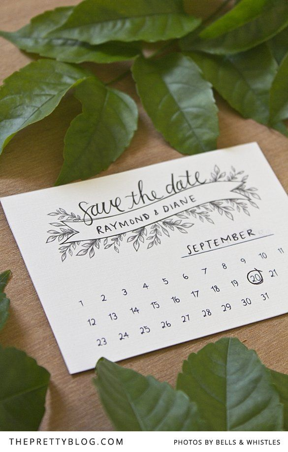 Save the date with leaf detail | FREE printable | Design & Photo: Bells & Whistles Stationery Design - It would be cute with a little stamp on the date too...