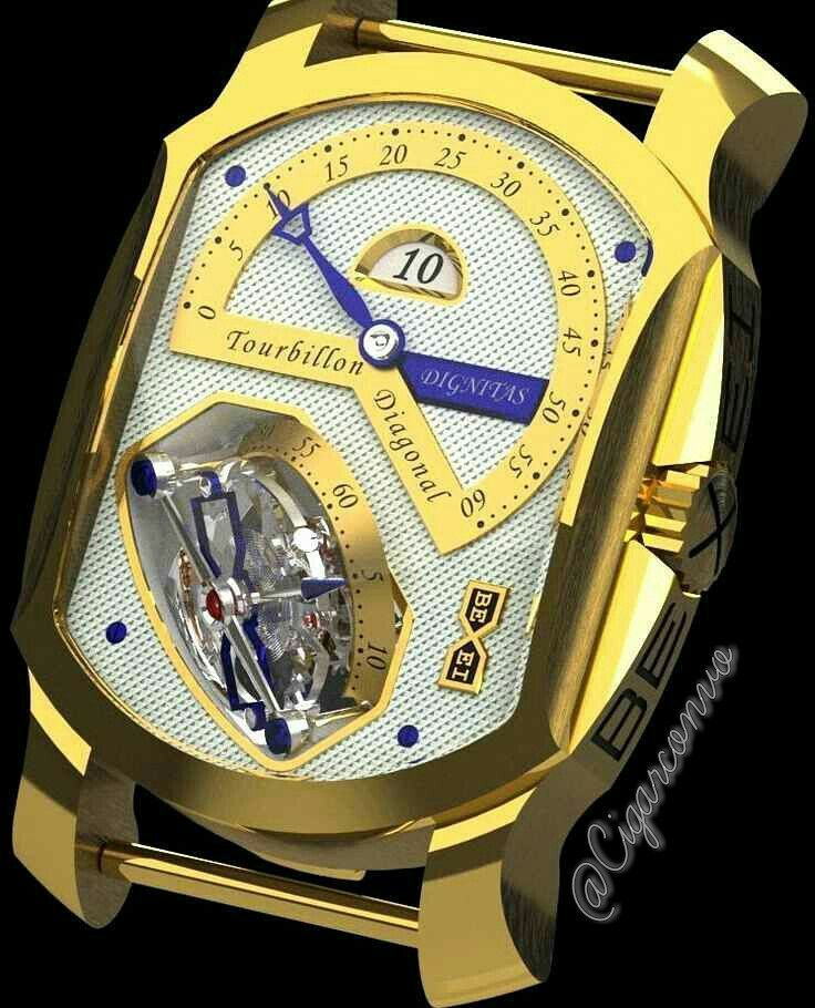The house of Bexei has recently introduced its new Dignitas Tourbillon Diagonal watch the most complicated item in the Dignitas 2010 collection. The caliber is enclosed in an 18K white yellow or rose gold case which measures 42 mm in diameter. At 3 oclock it sports a time-setting crown manufactured from the material to match that of the case. Did i mention the buckle is in 18K white yellow or rose gold? Yep choose one of the three.  #Cigarconvo #watchporn #mensfashion #Cohiba #menswear…