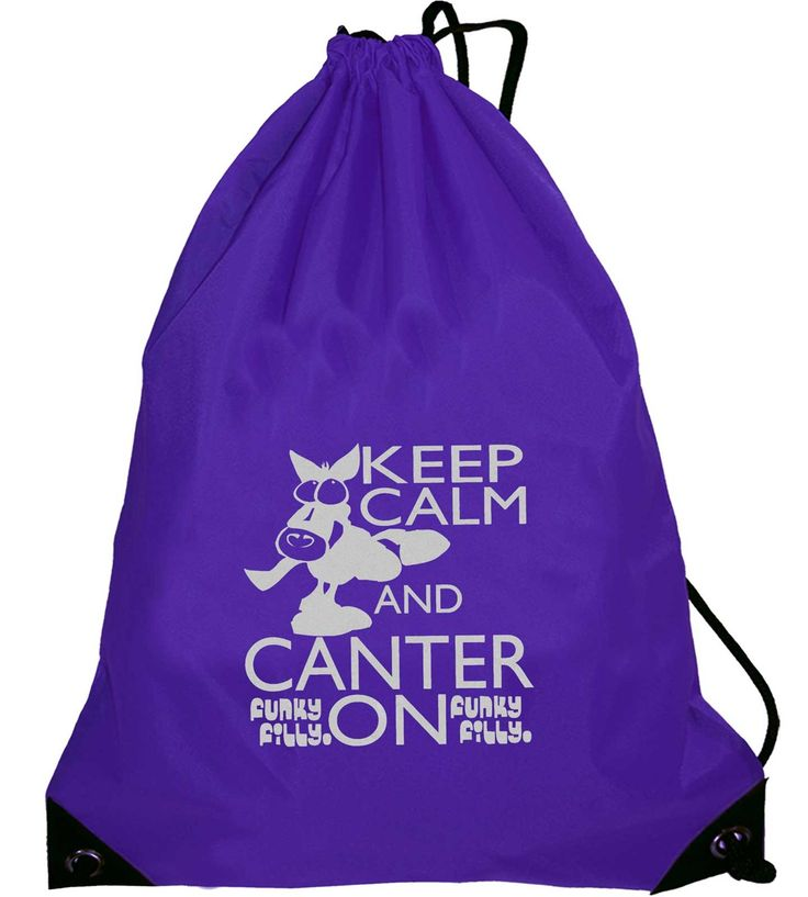 Funky Filly Silver Horse Keep Calm and Canter On Drawstring Bag