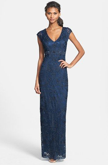 Sue Wong Embellished Illusion Back Gown Available At Nordstrom