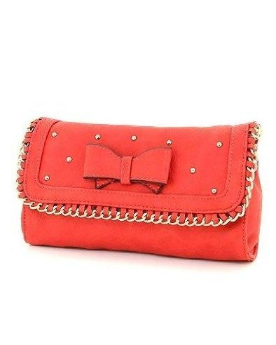 Coral with metal accents all in a clutch. Definitely fab.