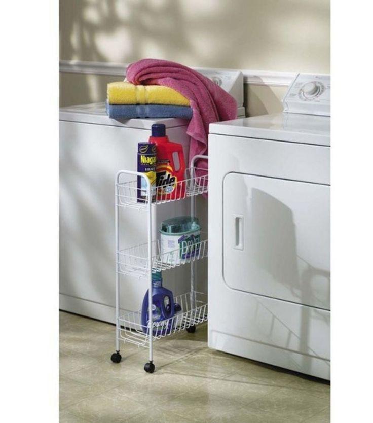 Slim Laundry Basket Bin 3 Tier Organizer Detergent Storage Utility Cart HouseholdEssentials US