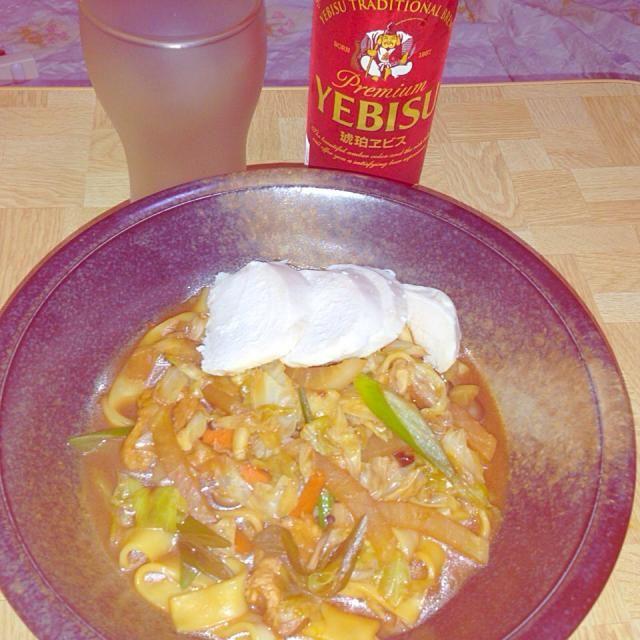 琥珀エビスと - 40件のもぐもぐ - 味噌煮込みうどん(きしめん)蒸し鶏をトッピング by Tarou  Masayuki