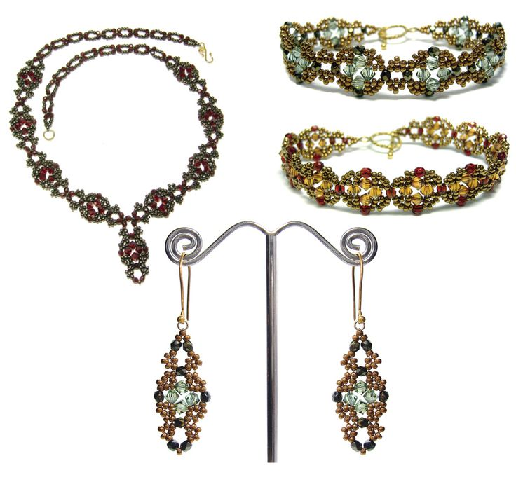 Venetian Necklace, Bands & Earrings Pattern Collection by Deborah Roberti at Bead-Patterns.com