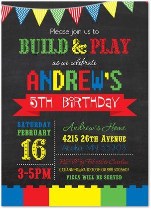 Building Blocks Lego Birthday Invitations